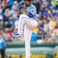 Kansas City, MO - May 07, 2015: Kansas City Royals starting pitcher Edison Volquez (36) pitches against the Cleveland Indians at Kauffman Stadium in Kansas City, Missouri.  The Royals beat the Indians 7-4.