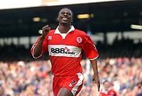 Photo: Back Page Images. 16/10/2004.<br /> Barclays Premiership. Blackburn Rovers v Middlesbrough. Ewood Park.<br /> George Boateng celebrates his goal