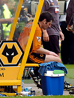 Photo. Jed Wee, Digitalsport<br /> NORWAY ONLY<br /> <br /> Wolverhampton Wanderers v Tottenham Hotspurs, FA Barclaycard Premiership, 15/05/2004.<br /> Wolves's Dennis Irwin has a quiet moment to soak in the atmosphere for the last time as he calls time on a glittering career.