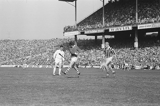 Cork plays hits the ball down field during at the All Ireland Senior Hurling Final, Cork v Kilkenny in Croke Park on the 3rd September 1972. Kilkenny 3-24, Cork 5-11.