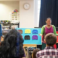 Radmilla Cody, left, and Stephanie Littlehat lead Shimá Storytelling, Wednesday, Nov. 13 at the Octavia Fellin Public Library Children's Branch.