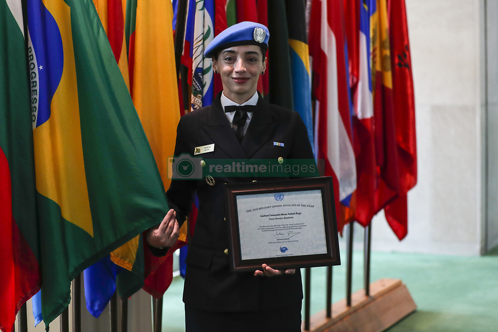 March 29, 2019 - New York, NY, United States - Lieutenant Commander Marcia Andrade Braga, Brazilian naval officer serving with the United Nations Multidimensional Integrated Stabilization Mission in the Central African Republic (MINUSCA) and the UN Military Gender Advocate of the Year Award recipient today at the UN Headquarters in New York before her speech at the General Assembly, on March 29, 2019. (Credit Image: © Luiz Rampelotto/NurPhoto via ZUMA Press)