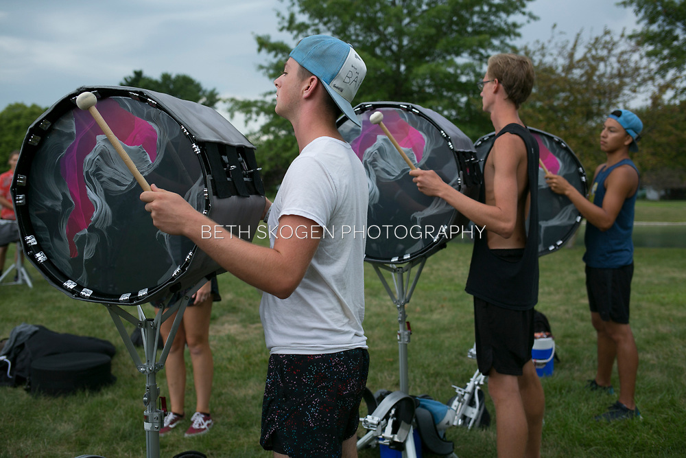 Shadow Drum and Bugle Corps practices in Marion, Indiana on August 6, 2019. <br /> <br /> Beth Skogen Photography - www.bethskogen.com