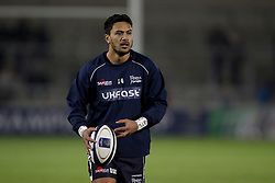 Sale Sharks Denny Solomona warms up before the European Champions Cup, pool three mach at the AJ Bell Stadium, Salford.