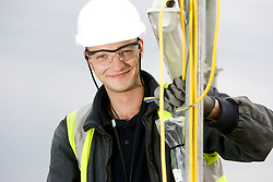 Staff portrait. Olympic Park electrician Chris Randall, working on the Stadium Site. Model Released. Picture taken on 25 Sep 2008 by David Poultney.