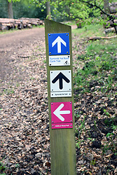 Different walking and cycling trails, Symonds Yat, Wye Valley on the England / Wales border May 2021