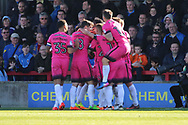 Southend United striker Nile Ranger (50) celebrating after scoring 0-1 during the EFL Sky Bet League 1 match between AFC Wimbledon and Southend United at the Cherry Red Records Stadium, Kingston, England on 25 March 2017. Photo by Matthew Redman.