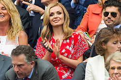 © Licensed to London News Pictures. 08/07/2016. KATHERINE JENKINS watches tennis from the Royal Box tennis on the centre court on the twelfth day of the WIMBLEDON Lawn Tennis Championships. London, UK. Photo credit: Ray Tang/LNP