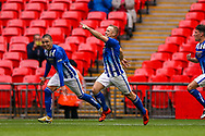 Goal Chertsey Town's Jake Baxter (9) scores from the penalty spot and celebrates 2-1 during the FA Vase final match between Chertsey Town and Cray Valley at Wembley Stadium, London, England on 19 May 2019.