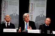Russell Tribunal press conference at Amnesty International. Michael Mansfield QC reading the findings of the tribunal based on 2 days of witness statements.