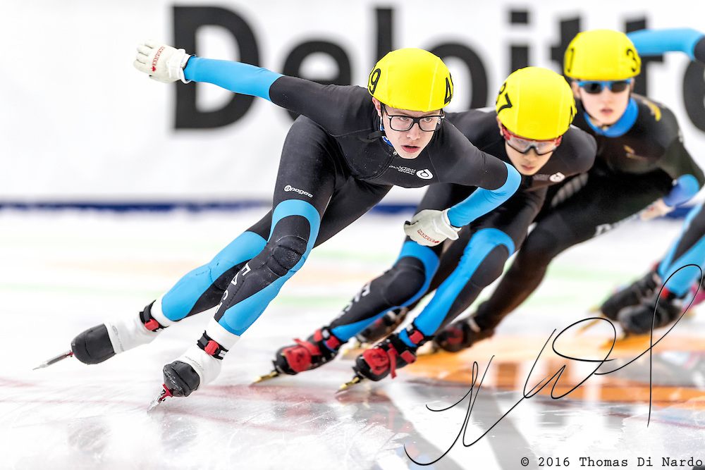 December 17, 2016 - Kearns, UT - Michael Shaw skates during US Speedskating Short Track Junior Nationals and Winter Challenge Short Track Speed Skating competition at the Utah Olympic Oval.