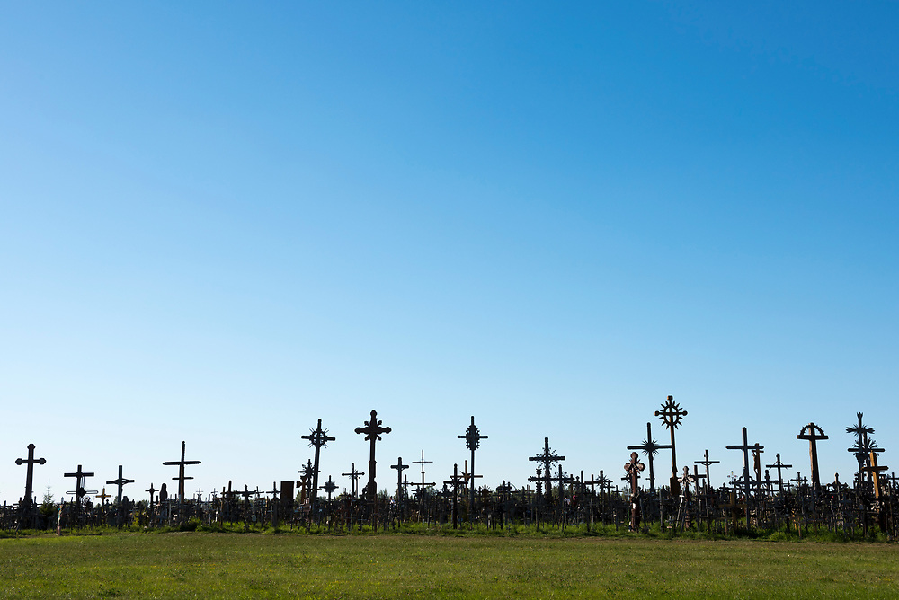 Šiauliai, Lithuania - August 16, 2015: Some of the many thousands of crosses at the Hill of Crosses near Šiauliai, Lithuania