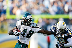 Philadelphia Eagles wide receiver Jeremy Maclin #18 pushes through coverage while carrying the ball during the NFL game between the Philadelphia Eagles and the San Diego Chargers on November 15th 2009. At Qualcomm Stadium in San Diego, California. (Photo By Brian Garfinkel)