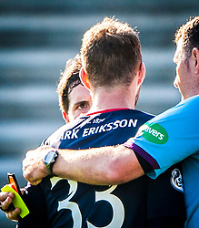 Raith Rovers players react to Falkirk's Conor McGrandles dive with Falkirk's Rory Loy.<br /> Raith Rovers 1 v 1 Falkirk, Scottish Championship 28/9/2013.<br /> ©Michael Schofield.