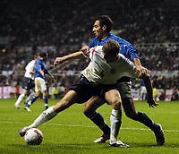 Fotball<br /> VM-kvalifisering<br /> England v Azerbaijan<br /> St. James` Park - Newcastle<br /> 30. mars 2005<br /> Foto: Digitalsport<br /> NORWAY ONLY<br /> England's Steven Gerrard holds off Azerbaijan's Vugar Guliyev