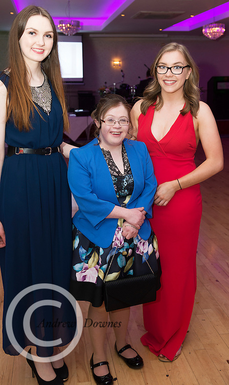 The Ability West Best Buddies Ball at the Menlo Park Hotel, Galway. Students from GMIT and NUIG buddy up with Ability West Service users for friendships that last a lifetime celebrated at this gala ball.<br /> Enjoying the night were Amy Mannion NUIG<br /> Jenny Cox and Tracy O Driscoll NUIG Photo:Andrew Downes, xposure.