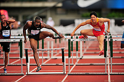 04.06.2011, Eugene, USA, Prefontaine Classic Track Meet, im Bild David Oliver (USA), left,  wins the men's 110m hurdles with a time of 12.94 seconds at the Prefontaine Classic at Hayward Field in Eugene, Oregon. At right is Xiang Liu (CHN), who finished second with a time of 13.00 seconds..June 4, 2011. EXPA Pictures © 2011, PhotoCredit: EXPA/ New Sport Photo +++++ ATTENTION - OUT OF USA  +++++