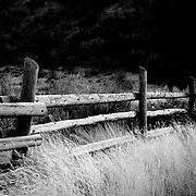 Fence at mouth of Green Canyon east of Logan, Utah Nov. 17, 2010.