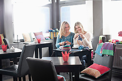 Two women knitting muffler and drinking coffee in coffee shop and smiling, Bavaria, Germany