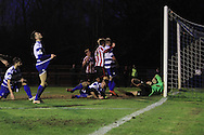 Karnell Chambers puts the cross in that leads to the CTFC 2nd goal during the FA Trophy match between Oxford City and Cheltenham Town at Court Place Farm, Oxford, United Kingdom on 16 January 2016. Photo by Antony Thompson.