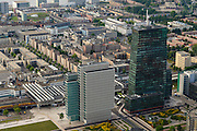 Nederland, Flevoland, Almere, 27-08-2013; Stadshart, met Station NS en WTC<br /> Detailed heart of the newly constructed city of Almere, the high-rise offices (WTC) and the railway station. <br /> luchtfoto (toeslag op standaard tarieven);<br /> aerial photo (additional fee required);<br /> copyright foto/photo Siebe Swart.