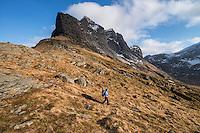 Female hiker hiking mountain trail away from Horseid beach, Moskenesøy, Lofoten Islands, Norway
