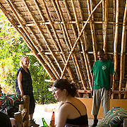 A ranger gives an interpretive talk about island and reef ecology in the visitor center prior to a reef tour, Chumbe Island Coral Park, Tanzania, Africa