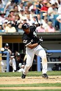 CHICAGO - 2003:  Frank Thomas of the Chicago White Sox bats during an MLB game at U.S. Cellular Field  in Chicago, Illinois.  Thomas played for the White Sox from 1990-2005.  (Photo by Ron Vesely)