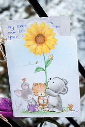 A card left among small number of  Floral Tributes outside the house on Beck Road where a Three Year old girl was taken from to Sheffield Childrens Hosptial on Friday (8th feb). The girl later died around 12:20am Saturday morning (9 Feb).A 30-year-old man charged with murder of three-year-old girl from Beck Road Shiregreen, Sheffield..11 February 2013.Image © Paul David Drabble
