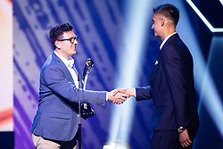 Seni Catic of Avto Aktiv giving trophy for best player in 2nd Slovenian football league to Anel Hajric of NK Radomlje during SPINS XI Nogometna Gala 2019 event when presented best football players of Prva liga Telekom Slovenije in season 2018/19, on May 19, 2019 in Slovene National Theatre Opera and Ballet Ljubljana, Slovenia. Photo by Grega Valancic / Sportida.com