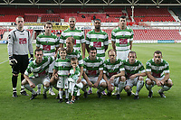 Football - UEFA Champions League 3rd Qualifying Round - The New Saint's vs. Anderlecht<br /> The New Saints line up before kick off at the Racecourse Ground, Wrexham