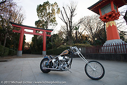"Cherry's Company's Kaichiroh ""Kross"" Kurosu's custom 1949 Harley-Davidson Panhead photographed in front of a Torii Gate at a Shinto Shrine near the shop. Thursday December 7, 2017. Photography ©2017 Michael Lichter."
