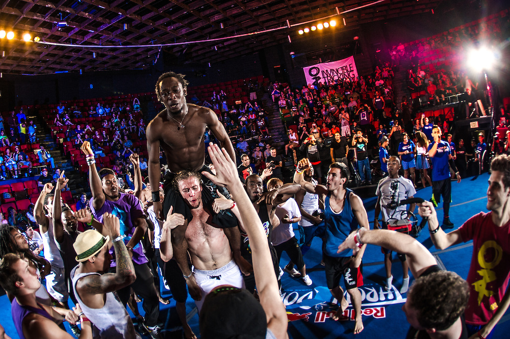 Winner William Coneys is lifted up by all the competitors after winning the One and One event Finales at Red Bull Throwdown in Atlanta, Georgia on August 25th, 2013