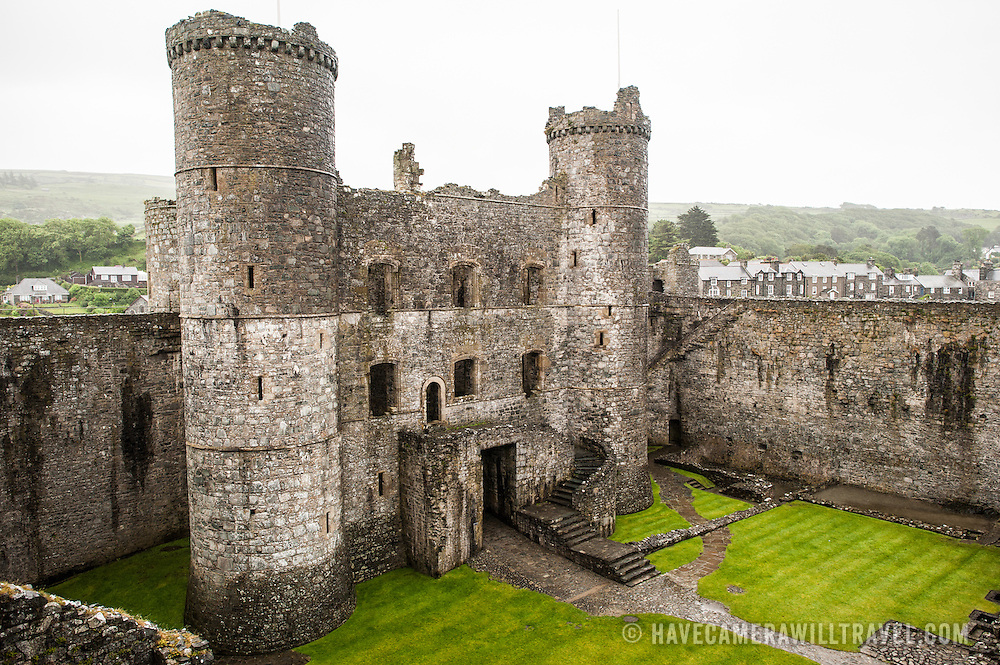 An elevated view of the gatehouse at Harlech Castle in Harlech, Gwynedd, on the northwest coast of Wales next to the Irish Sea. The castle was built by Edward I in the closing decades of the 13th century as one of several castles designed to consolidate his conquest of Wales.