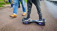 Person Riding a HoverBoard on a Public Footpath, They are now banned in all public places in the United Kingdom - 28 Dec 2015