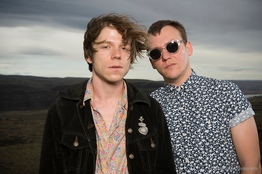 WA - MAY 23:  Mathew Shultz and Brad Shultz of Cage the Elephant<br /> poses for a portrait backstage at the Gorge Amphitheater on May 23, 2014 in George, Washington. (Photo by Steven Dewall)
