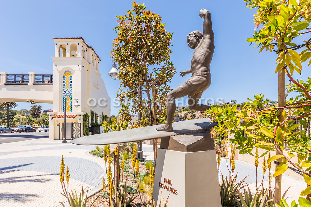 Surf Icon Phil Edwards Statue at Waterman's Plaza in Dana Point
