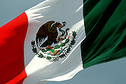 MEXICO, MEXICO CITY Flag with eagel, snake and cactus