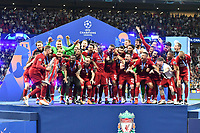 Football - 2019 UEFA Champions League Final - Liverpool vs. Tottenham Hotspur<br /> <br /> Liverpool celebrate as they lift the Champion's Trophy , at Wanda Metropolitano, Madrid.<br /> <br /> COLORSPORT/WINSTON BYNORTH
