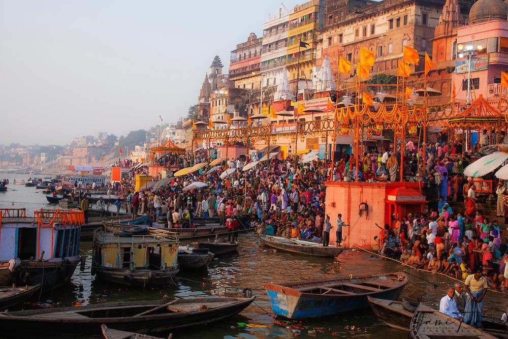A view down the Ganges River before sunrise from the main Dasaswamedh Ghat in Varanasi, Varanasi, Uttar Pradesh, India