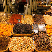 Nuts choice at La Boqueria market, Barcelona, Spain