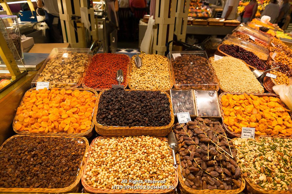 Nuts choice at La Boqueria market, Barcelona, Spain