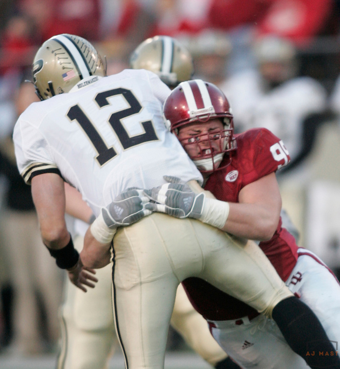 17 November 2007: Indiana defensive lineman Emile Bass (99) as the Indiana Hoosiers played the Purude Boilermakers in a college football game in Bloomington, Ind. Indiana won 27-24.