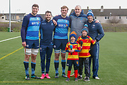 Scottish Rugby Healthy eating Partner mascot 'Hamish', Forwards Grant Gilchrist, Jonny Gray & Winger Tommy Seymour along side coaching staff and 2 young representatives from Clydebank Rugby Club during the training session and press conference for Scotland Rugby at Clydebank Community Sports Hub, Clydebank, Scotland on 13 February 2019.