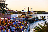Admiral Joe Fowler Riverboat with the Grand Floridian Resort and Spa in background, on Bay Lake, Walt Disney World, Orlando, Florida USA