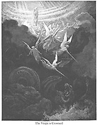 The Crowned Virgin: A Vision of John [Revelation 12:1-3] From the book 'Bible Gallery' Illustrated by Gustave Dore with Memoir of Dore and Descriptive Letter-press by Talbot W. Chambers D.D. Published by Cassell & Company Limited in London and simultaneously by Mame in Tours, France in 1866