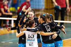 Players of Calcit Volley celebrate during 3rd Leg Volleyball match between Calcit Volley and Nova KBM Maribor in Final of 1. DOL League 2020/21, on April 17, 2021 in Sportna dvorana, Kamnik, Slovenia. Photo by Matic Klansek Velej / Sportida