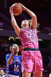 NORMAL, IL - February 10: Tamara Lee defends Lexi Wallen during a college women's basketball Play4Kay game between the ISU Redbirds and the Indiana State Sycamores on February 10 2019 at Redbird Arena in Normal, IL. (Photo by Alan Look)
