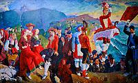 France, Pyrénées-Atlantiques (64), Bayonne, musée Basque de l'histoire de Bayonne, danseurs et musiciens basques, béarnais et bigourdans de Henri Borde // France, Pyrénées-Atlantiques (64), Bayonne, Basque museum of the history of Bayonne