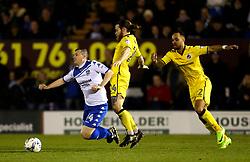 Callum Styles of Bury is tackled by Stuart Sinclair of Bristol Rovers - Mandatory by-line: Matt McNulty/JMP - 14/03/2017 - FOOTBALL - Gigg Lane - Bury, England - Bury v Bristol Rovers - Sky Bet League One
